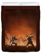 Medieval Knights In Armour Fighting With Swords Duvet Cover