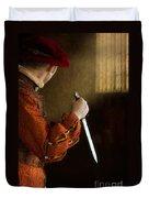Medieval Man With Dagger Duvet Cover