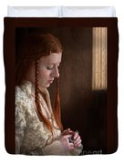 Medieval Tudor Woman With Red Hair  Duvet Cover