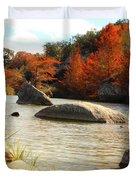 Fall Cypress At Bandera Falls On The Medina River Duvet Cover