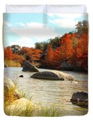 Fall Cypress At Bandera Falls On The Medina River Duvet Cover
