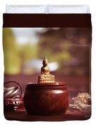 Meditating Buddha Statue Duvet Cover