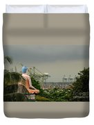 Meditating Buddha Views Container Seaport Singapore Duvet Cover