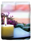 Meditation Candle Duvet Cover by Olivier Le Queinec