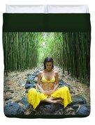 Meditation In Bamboo Forest Duvet Cover