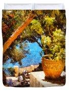 Mediterranean Steps Duvet Cover by Pixel Chimp