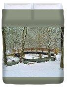 Meeks Park Bridge In Snow Duvet Cover