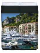 Mega Yachts In Port Of Nice France Duvet Cover