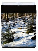 Melting Snow In A Forest In Late Winter Duvet Cover
