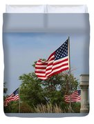 Memorial Day Flag's With Blue Sky Duvet Cover