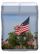 Memorial Day Flag's With Blue Sky Duvet Cover by Robert D  Brozek