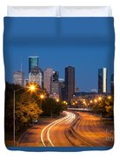 Memorial Drive And Houston Skyline Duvet Cover