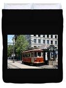Memphis Trolley On Main Street Duvet Cover
