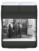 Men Talking On Bank Steps Duvet Cover