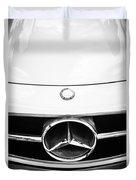 Mercedes-benz Grille Emblem -0230bw Duvet Cover