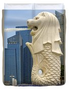 Merlion Statue By Singapore River Duvet Cover