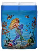Mermaid And Seahorse Morning Swim Duvet Cover