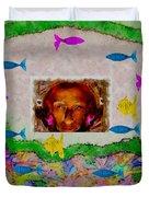 Mermaid In Her Cave Duvet Cover