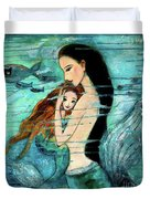 Mermaid Mother And Child Duvet Cover