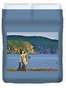 Mermaid On A Dock In Twillingate Harbour-nl Duvet Cover