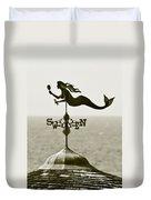 Mermaid Weathervane In Sepia Duvet Cover by Ben and Raisa Gertsberg