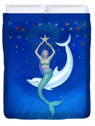 Mermaids- Dolphin Moon Mermaid Duvet Cover