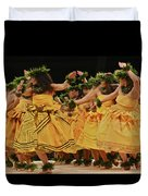 Merrie Monarch Hula Dancers In Yellow Dresses Duvet Cover