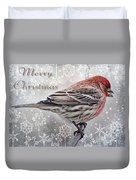 Merry Christman Finch Greeting Card Duvet Cover