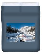 Merry Christmas Snowy Mountain Scene Duvet Cover