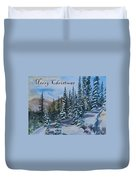 Merry Christmas - Winter Trees And Mountains Duvet Cover