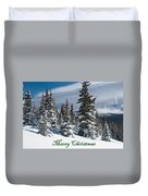 Merry Christmas - Winter Trees And Rising Clouds Duvet Cover