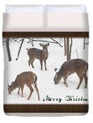 Merry Christmas Card - Whitetail Deer In Snow Duvet Cover