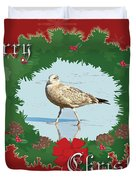 Merry Christmas Greeting Card - Young Seagull Duvet Cover