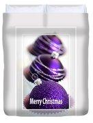 Merry Christmas Purple Baubles Duvet Cover