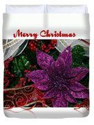 Merry Christmas Red Ribbon Duvet Cover