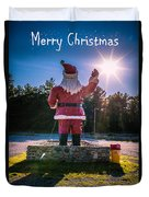 Merry Christmas Santa Claus Greeting Card Duvet Cover