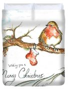 Merry Christmas Robin Duvet Cover