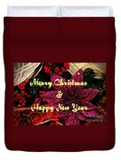 Merry Christmas With Purple Poinsettia Duvet Cover