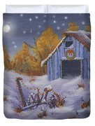 Merry Christmas You Old Barn And Farm Implement Duvet Cover