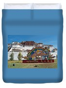 Message Of Joy From Potala Palace In Lhasa-tibet  Duvet Cover