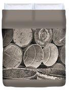 Metal Barrels 2bw Duvet Cover