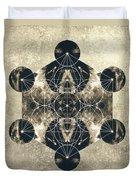 Metatron's Cube Silver Duvet Cover by Filippo B