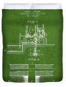 Method Of Drilling Wells Patent From 1906 - Green Duvet Cover