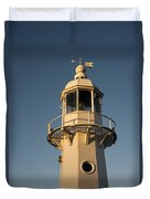 Mevagissey Lighthouse In The Evening Duvet Cover