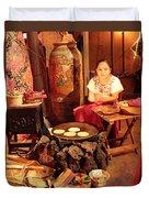 Mexican Girl Making Tortillas Duvet Cover by Roupen  Baker