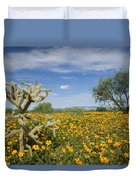 Mexican Golden Poppy Flowers And Cactus Duvet Cover