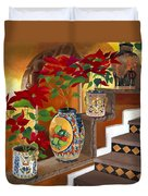 Mexican Pottery On Staircase Duvet Cover by Judy Swerlick