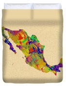 Mexico Map Watercolor Duvet Cover