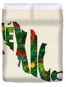 Mexico Typographic Watercolor Map Duvet Cover