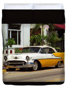 Miami Beach Classic Car Duvet Cover